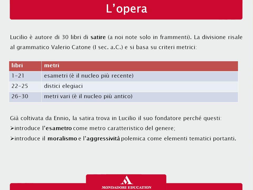 L'opera Lucilio è autore di 30 libri di satire (a noi note solo in frammenti). La divisione risale al grammatico Valerio Catone (I sec. a.C.) e si bas