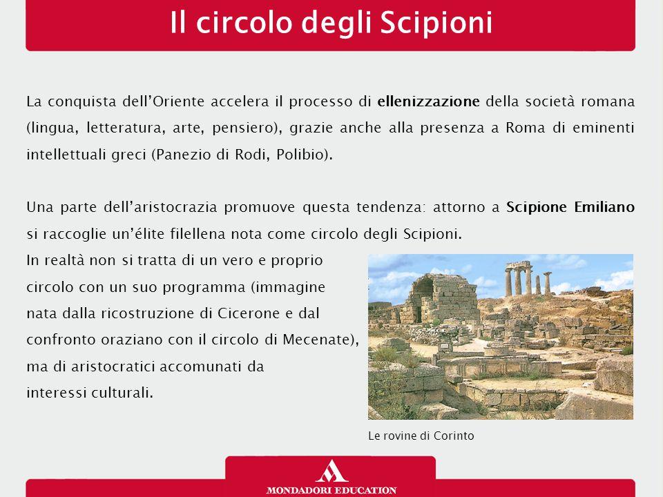 La conquista dell'Oriente accelera il processo di ellenizzazione della società romana (lingua, letteratura, arte, pensiero), grazie anche alla presenz