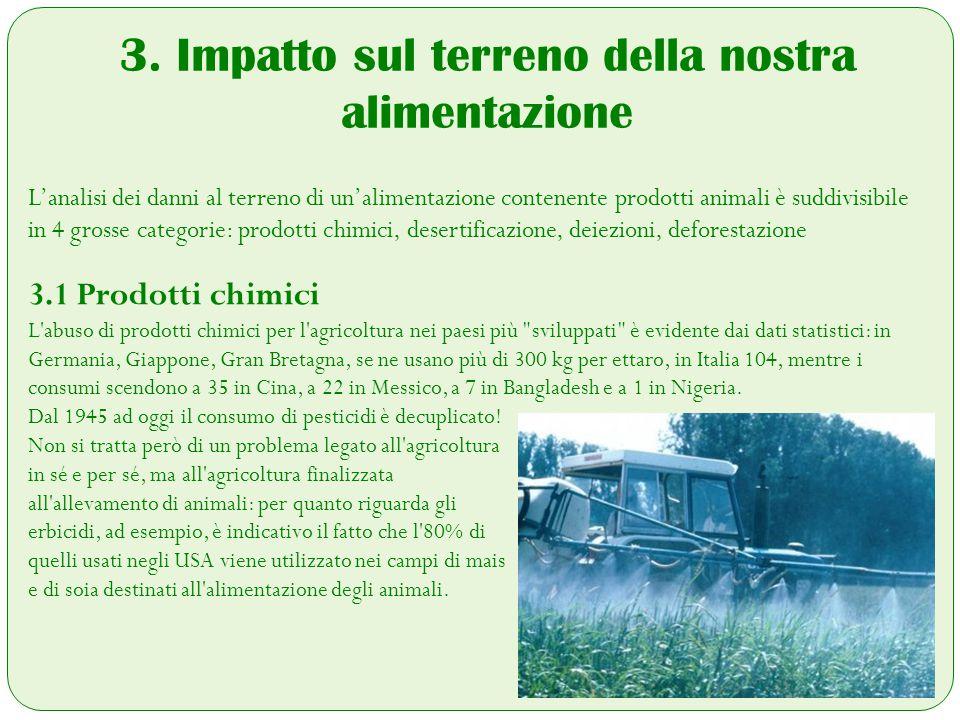 3. Impatto sul terreno della nostra alimentazione L'analisi dei danni al terreno di un'alimentazione contenente prodotti animali è suddivisibile in 4