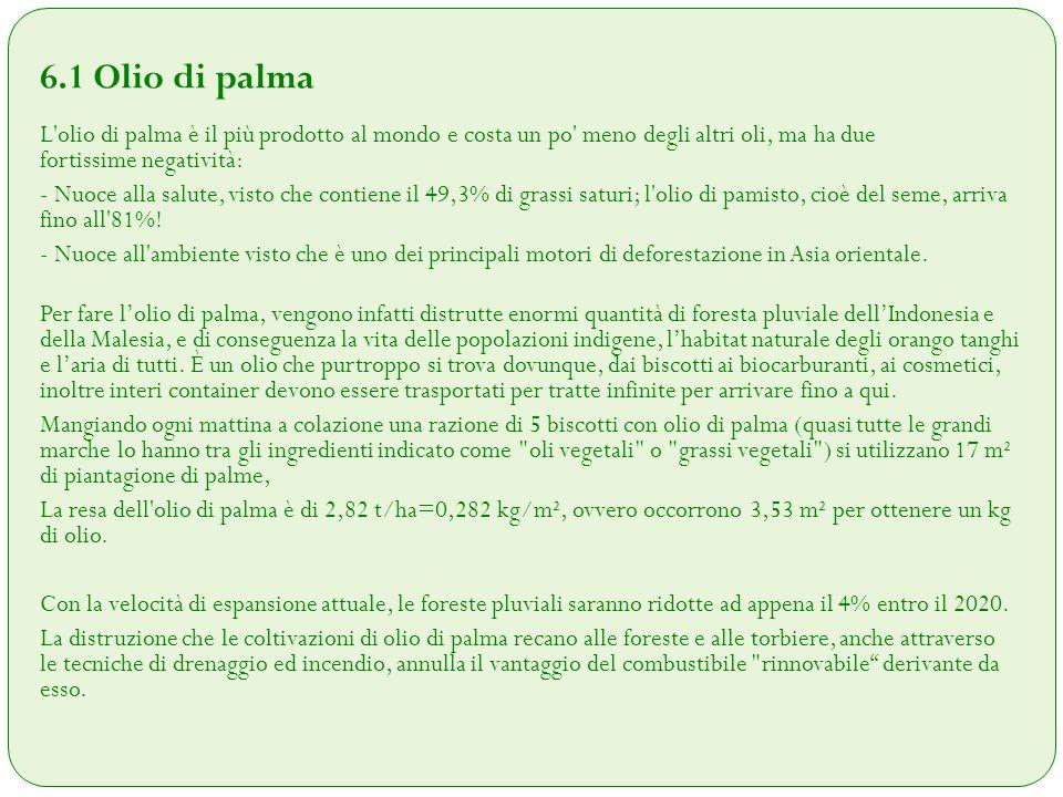 6.1 Olio di palma L'olio di palma è il più prodotto al mondo e costa un po' meno degli altri oli, ma ha due fortissime negatività: - Nuoce alla salute