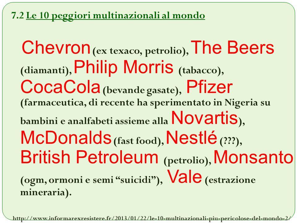 7.2 Le 10 peggiori multinazionali al mondo Chevron (ex texaco, petrolio), The Beers (diamanti), Philip Morris (tabacco), CocaCola (bevande gasate), Pf