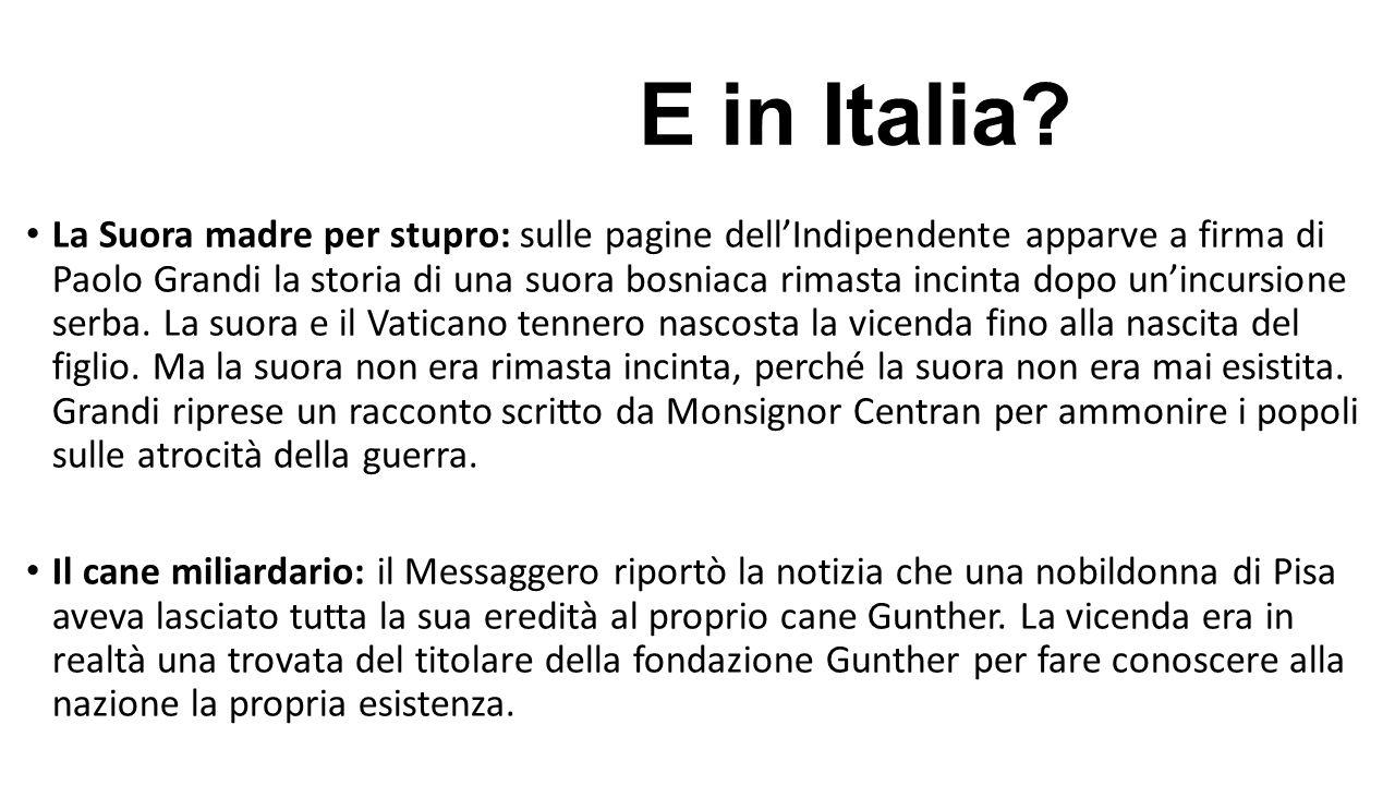 E in Italia? La Suora madre per stupro: sulle pagine dell'Indipendente apparve a firma di Paolo Grandi la storia di una suora bosniaca rimasta incinta