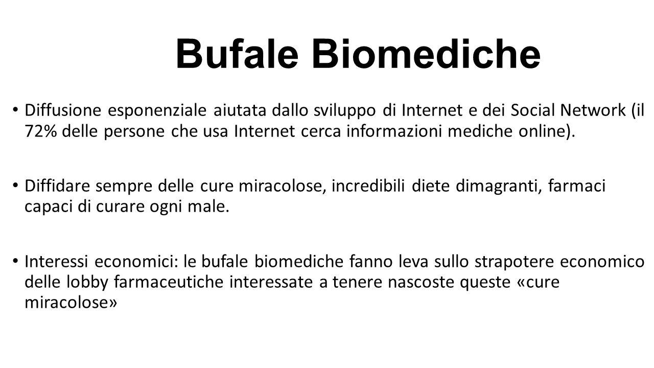 Bufale Biomediche Diffusione esponenziale aiutata dallo sviluppo di Internet e dei Social Network (il 72% delle persone che usa Internet cerca informa