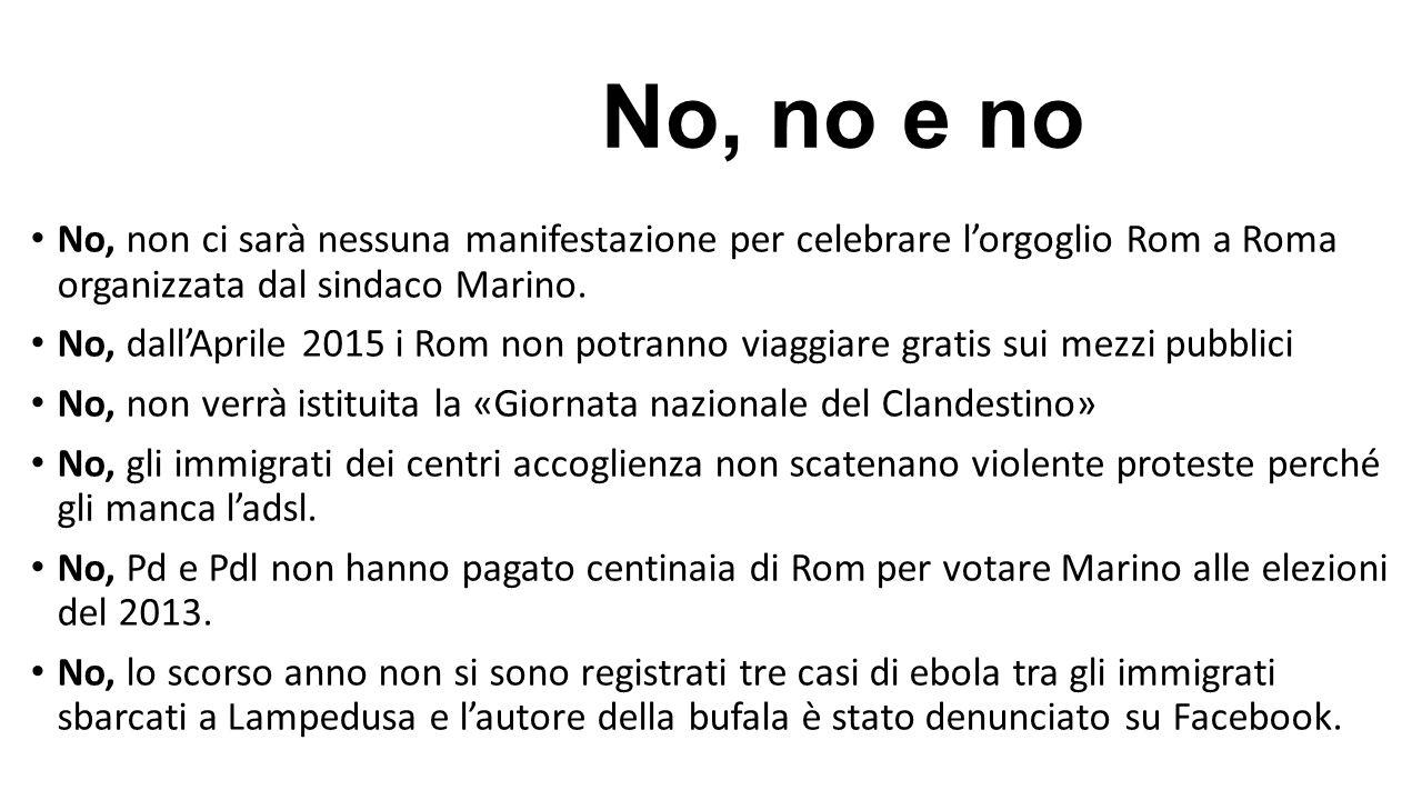 No, no e no No, non ci sarà nessuna manifestazione per celebrare l'orgoglio Rom a Roma organizzata dal sindaco Marino. No, dall'Aprile 2015 i Rom non