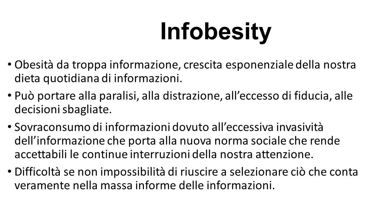 Infobesity Obesità da troppa informazione, crescita esponenziale della nostra dieta quotidiana di informazioni. Può portare alla paralisi, alla distra