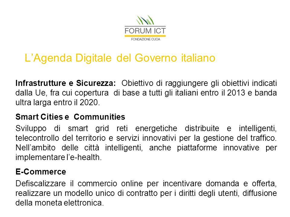 L'Agenda Digitale del Governo italiano Infrastrutture e Sicurezza: Obiettivo di raggiungere gli obiettivi indicati dalla Ue, fra cui copertura di base