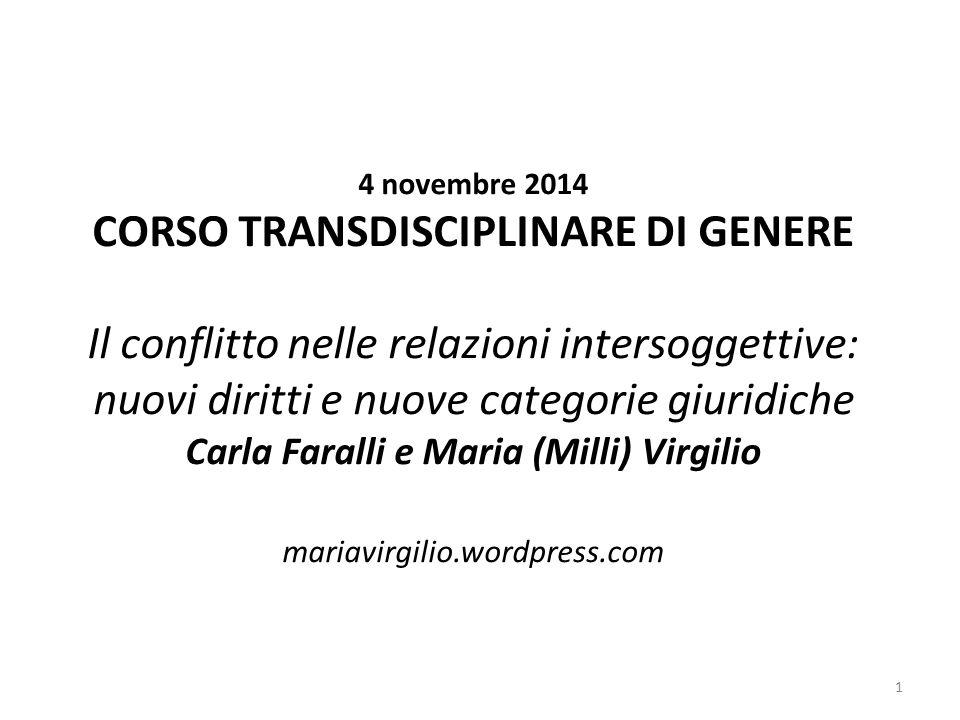 4 novembre 2014 CORSO TRANSDISCIPLINARE DI GENERE Il conflitto nelle relazioni intersoggettive: nuovi diritti e nuove categorie giuridiche Carla Faral