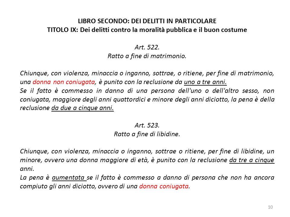 10 LIBRO SECONDO: DEI DELITTI IN PARTICOLARE TITOLO IX: Dei delitti contro la moralità pubblica e il buon costume Art.