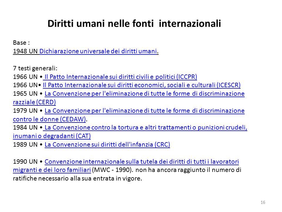 16 Diritti umani nelle fonti internazionali Base : 1948 UN Dichiarazione universale dei diritti umani.Dichiarazione universale dei diritti umani 7 tes
