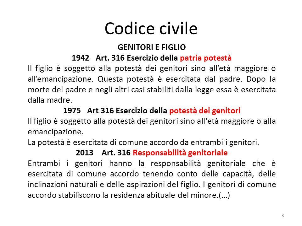 Codice civile 3 GENITORI E FIGLIO 1942 Art. 316 Esercizio della patria potestà Il figlio è soggetto alla potestà dei genitori sino all'età maggiore o