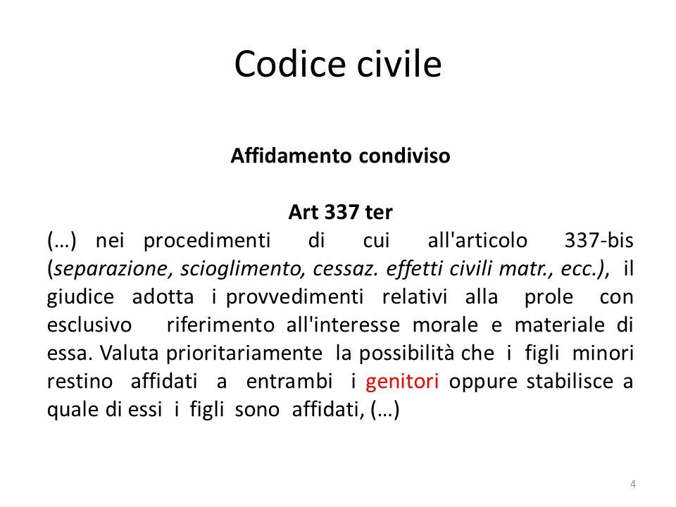 Codice civile 4 Affidamento condiviso Art 337 ter (…) nei procedimenti di cui all'articolo 337-bis (separazione, scioglimento, cessaz. effetti civili