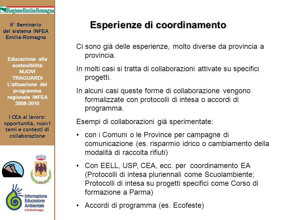 I CEA al lavoro: opportunità, nuovi temi e contesti di collaborazione 5° Seminario del sistema INFEA Emilia-Romagna Educazione alla sostenibilità NUOV