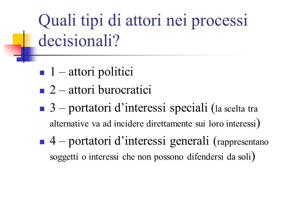 Quali tipi di attori nei processi decisionali? 1 – attori politici 2 – attori burocratici 3 – portatori d'interessi speciali ( la scelta tra alternati