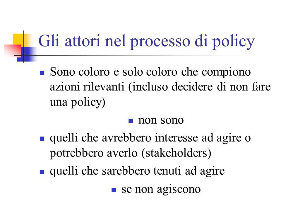 Gli attori nel processo di policy Sono coloro e solo coloro che compiono azioni rilevanti (incluso decidere di non fare una policy) non sono quelli ch