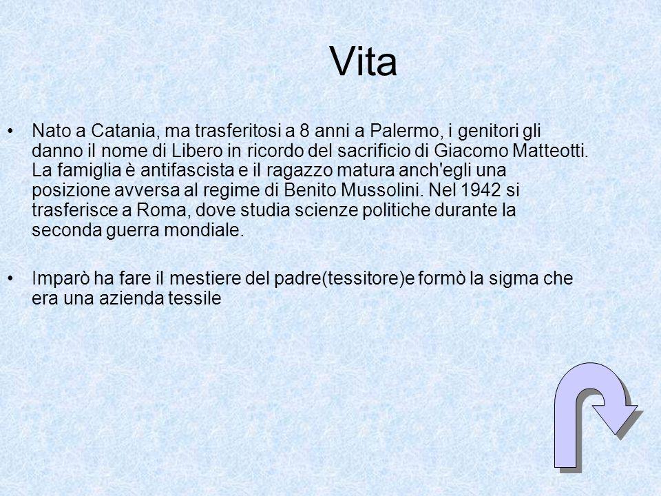 Vita Nato a Catania, ma trasferitosi a 8 anni a Palermo, i genitori gli danno il nome di Libero in ricordo del sacrificio di Giacomo Matteotti.