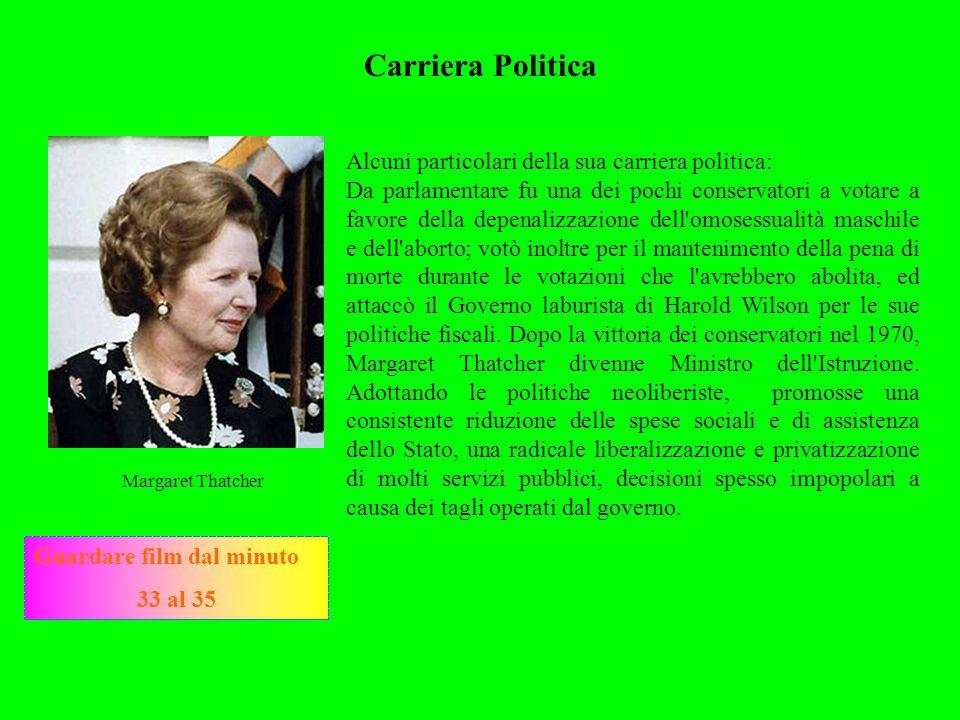 Carriera Politica Margaret Thatcher Alcuni particolari della sua carriera politica: Da parlamentare fu una dei pochi conservatori a votare a favore de