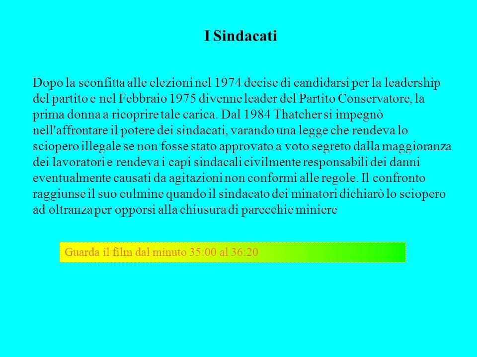 I Sindacati Dopo la sconfitta alle elezioni nel 1974 decise di candidarsi per la leadership del partito e nel Febbraio 1975 divenne leader del Partito
