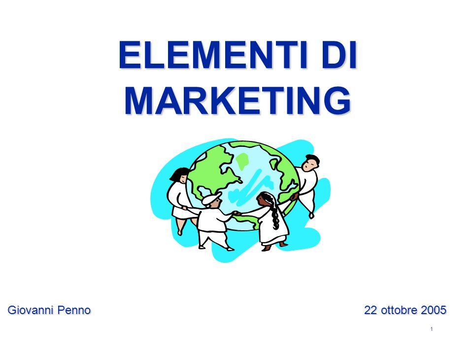 1 Giovanni Penno 22 ottobre 2005 ELEMENTI DI MARKETING