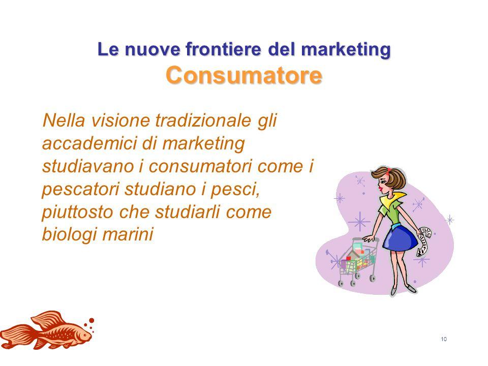10 Le nuove frontiere del marketing Consumatore Nella visione tradizionale gli accademici di marketing studiavano i consumatori come i pescatori studiano i pesci, piuttosto che studiarli come biologi marini
