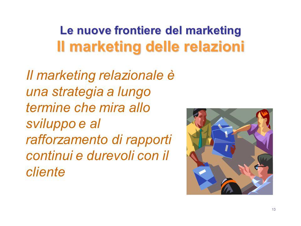 13 Le nuove frontiere del marketing Il marketing delle relazioni Il marketing relazionale è una strategia a lungo termine che mira allo sviluppo e al rafforzamento di rapporti continui e durevoli con il cliente