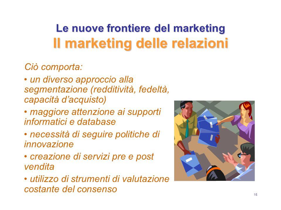 15 Le nuove frontiere del marketing Il marketing delle relazioni Ciò comporta: un diverso approccio alla segmentazione (redditività, fedeltà, capacità