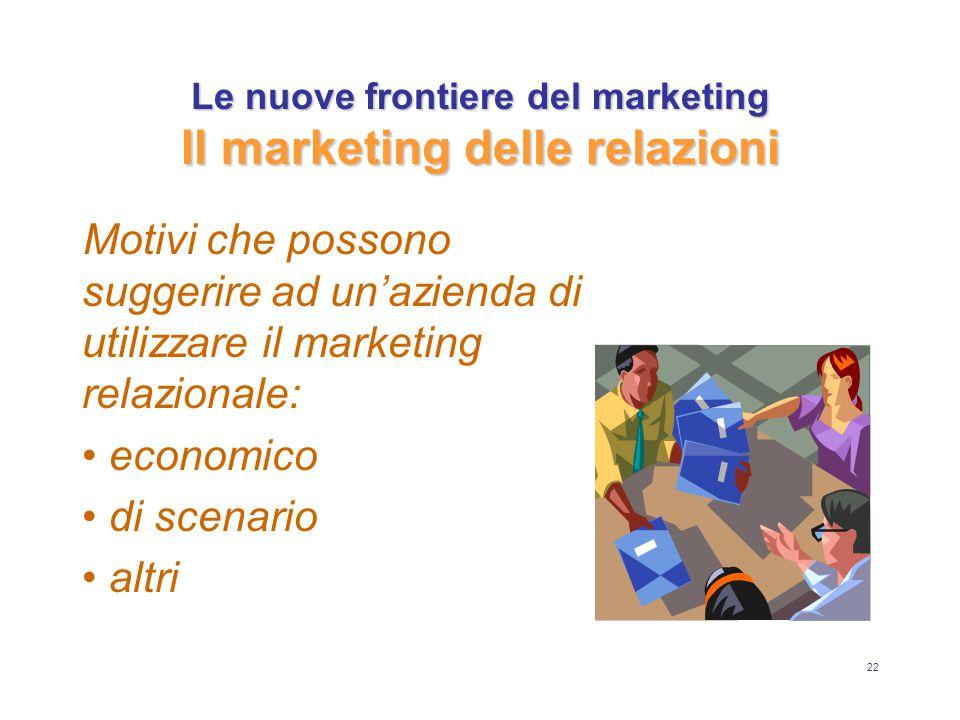 22 Le nuove frontiere del marketing Il marketing delle relazioni Motivi che possono suggerire ad un'azienda di utilizzare il marketing relazionale: economico di scenario altri