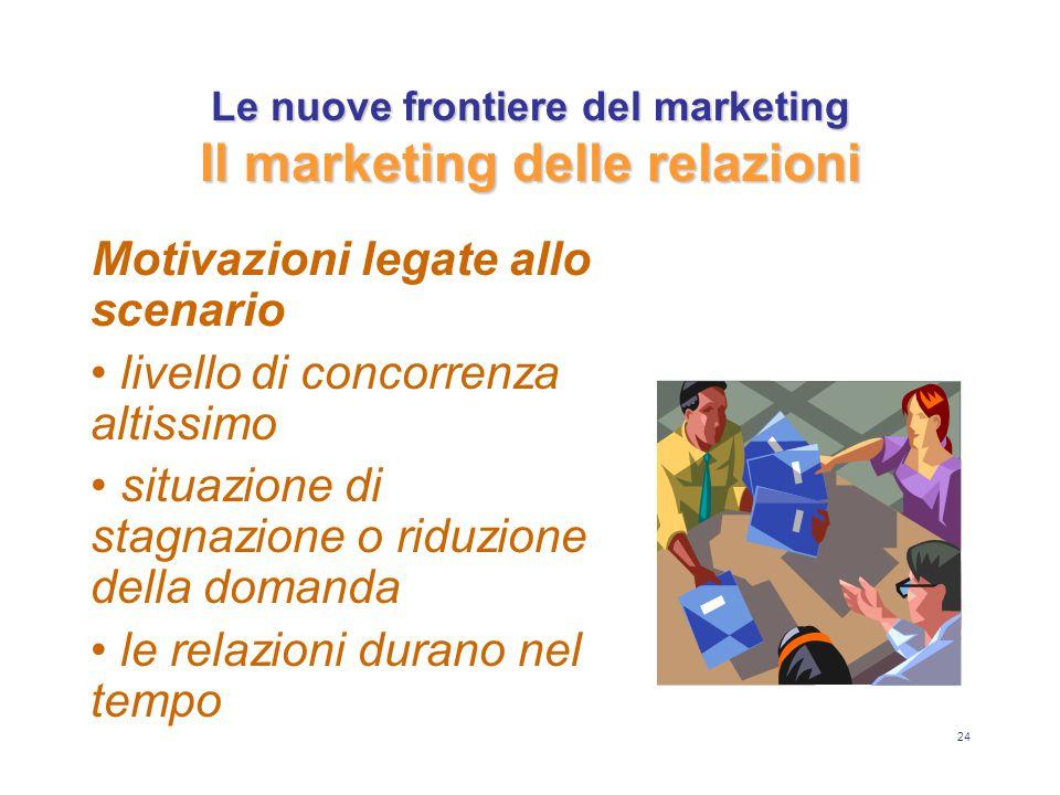 24 Le nuove frontiere del marketing Il marketing delle relazioni Motivazioni legate allo scenario livello di concorrenza altissimo situazione di stagnazione o riduzione della domanda le relazioni durano nel tempo