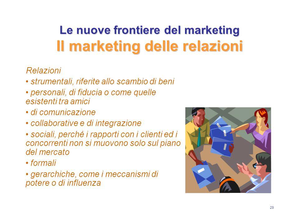 29 Le nuove frontiere del marketing Il marketing delle relazioni Relazioni strumentali, riferite allo scambio di beni personali, di fiducia o come que