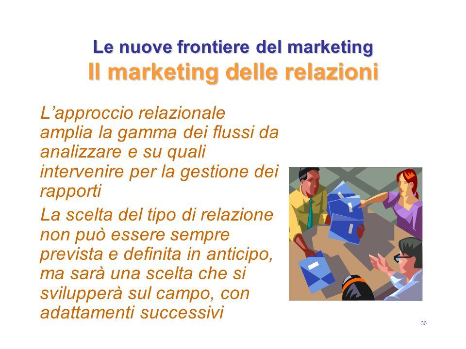 30 Le nuove frontiere del marketing Il marketing delle relazioni L'approccio relazionale amplia la gamma dei flussi da analizzare e su quali interveni