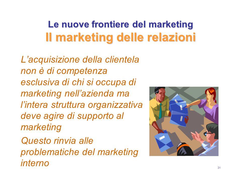 31 Le nuove frontiere del marketing Il marketing delle relazioni L'acquisizione della clientela non è di competenza esclusiva di chi si occupa di marketing nell'azienda ma l'intera struttura organizzativa deve agire di supporto al marketing Questo rinvia alle problematiche del marketing interno