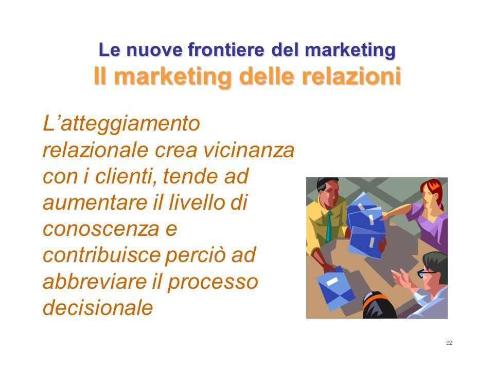 32 Le nuove frontiere del marketing Il marketing delle relazioni L'atteggiamento relazionale crea vicinanza con i clienti, tende ad aumentare il livello di conoscenza e contribuisce perciò ad abbreviare il processo decisionale