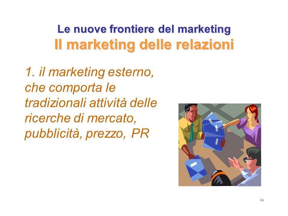 34 Le nuove frontiere del marketing Il marketing delle relazioni 1. il marketing esterno, che comporta le tradizionali attività delle ricerche di merc