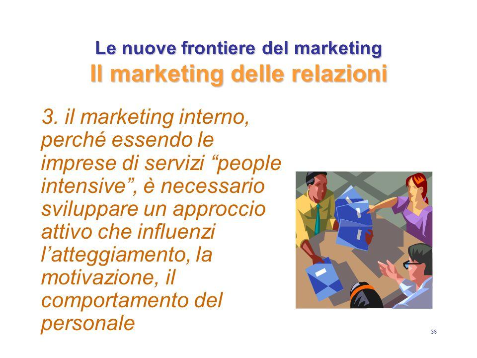 """36 Le nuove frontiere del marketing Il marketing delle relazioni 3. il marketing interno, perché essendo le imprese di servizi """"people intensive"""", è n"""