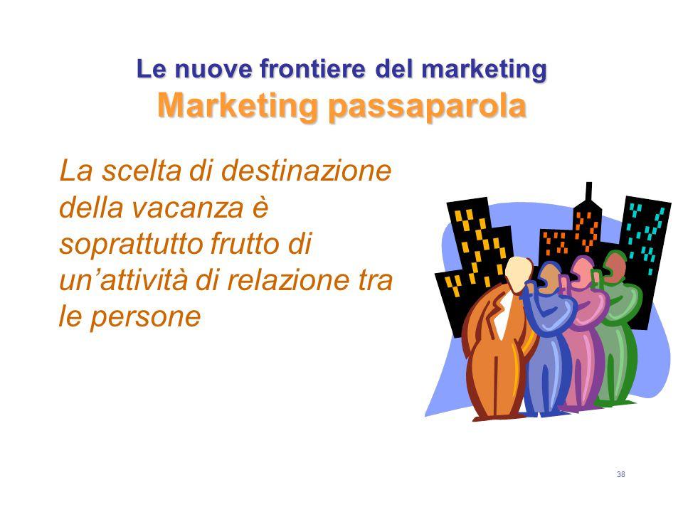38 Le nuove frontiere del marketing Marketing passaparola La scelta di destinazione della vacanza è soprattutto frutto di un'attività di relazione tra le persone