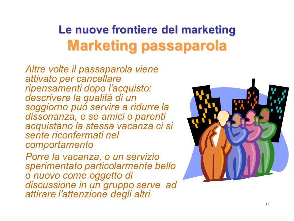 52 Le nuove frontiere del marketing Marketing passaparola Altre volte il passaparola viene attivato per cancellare ripensamenti dopo l'acquisto: descr
