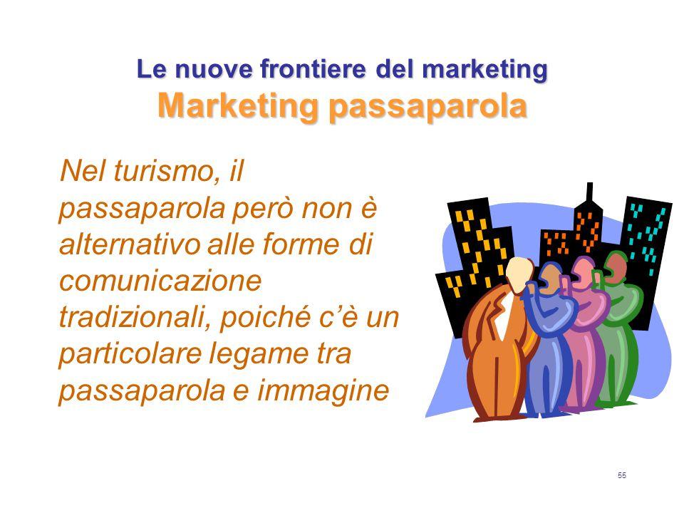 55 Le nuove frontiere del marketing Marketing passaparola Nel turismo, il passaparola però non è alternativo alle forme di comunicazione tradizionali, poiché c'è un particolare legame tra passaparola e immagine