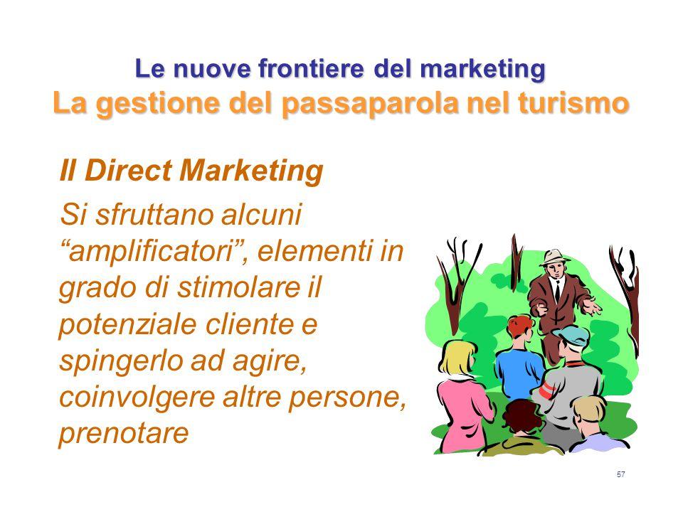 57 Le nuove frontiere del marketing La gestione del passaparola nel turismo Il Direct Marketing Si sfruttano alcuni amplificatori , elementi in grado di stimolare il potenziale cliente e spingerlo ad agire, coinvolgere altre persone, prenotare