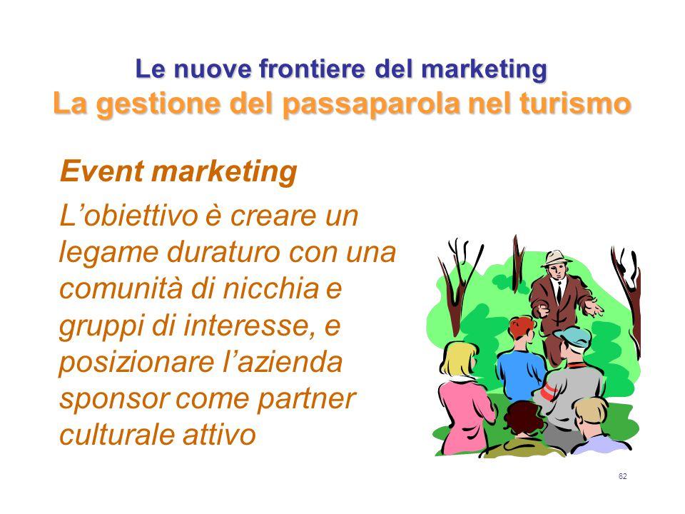 62 Le nuove frontiere del marketing La gestione del passaparola nel turismo Event marketing L'obiettivo è creare un legame duraturo con una comunità di nicchia e gruppi di interesse, e posizionare l'azienda sponsor come partner culturale attivo