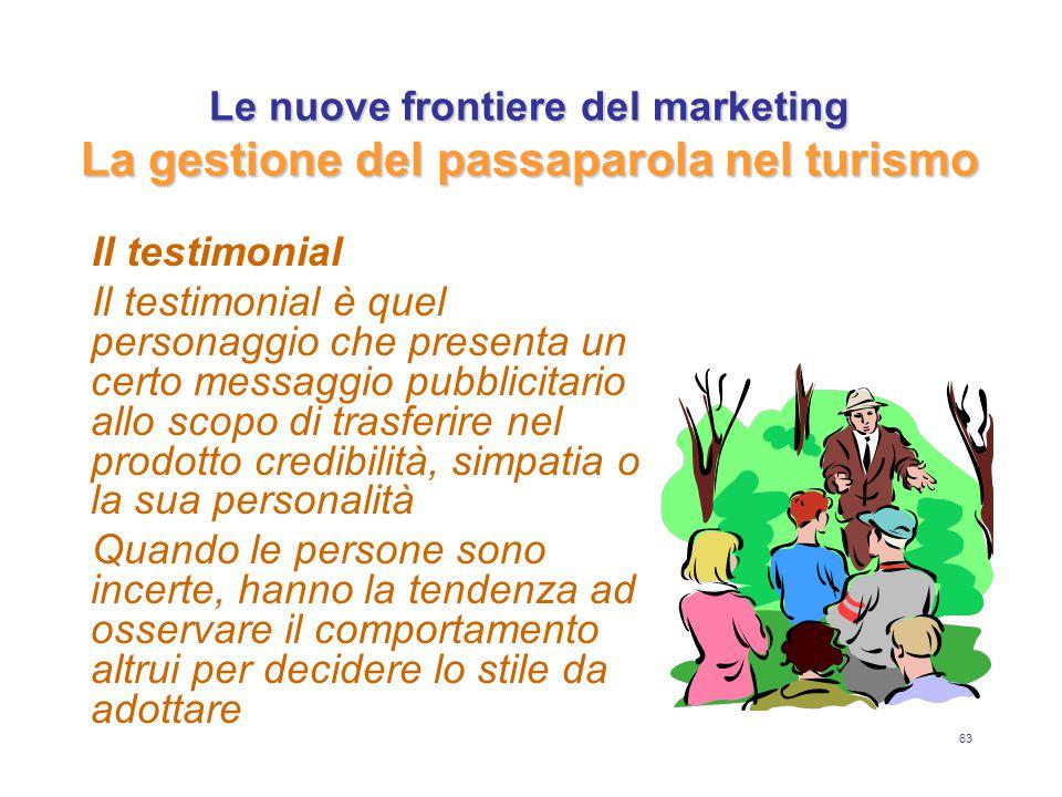63 Le nuove frontiere del marketing La gestione del passaparola nel turismo Il testimonial Il testimonial è quel personaggio che presenta un certo mes