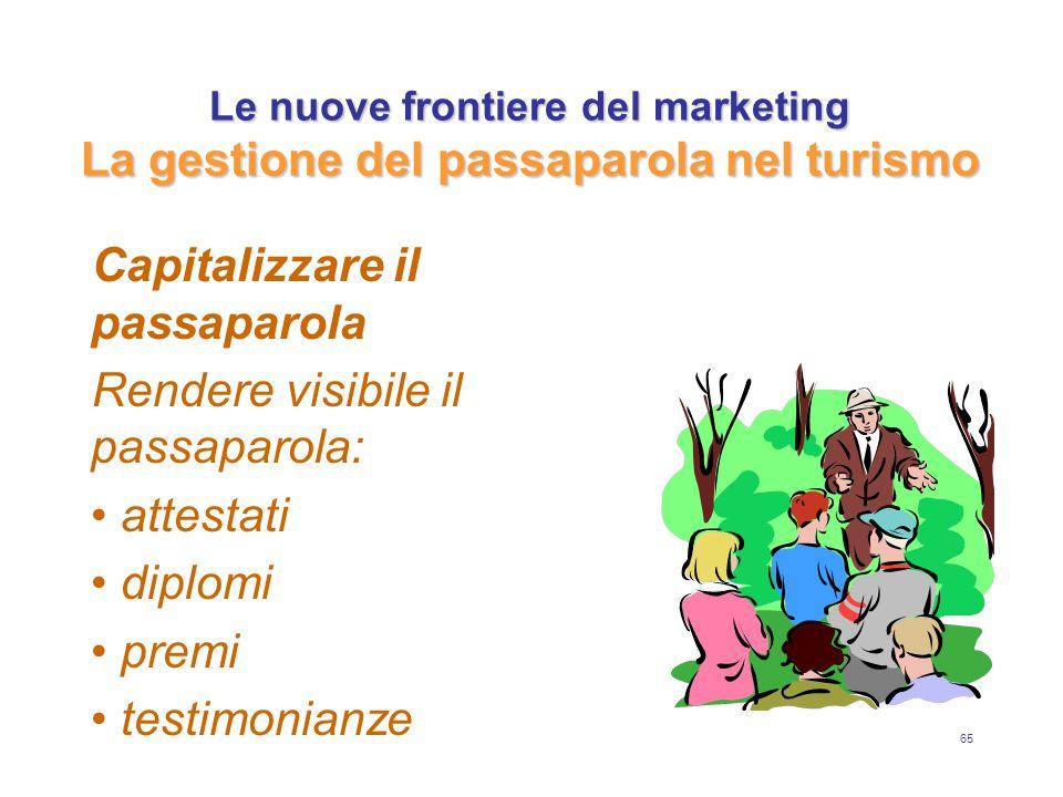65 Le nuove frontiere del marketing La gestione del passaparola nel turismo Capitalizzare il passaparola Rendere visibile il passaparola: attestati di