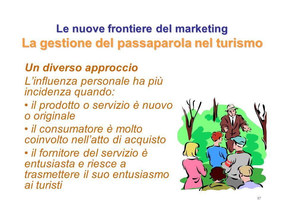 67 Le nuove frontiere del marketing La gestione del passaparola nel turismo Un diverso approccio L'influenza personale ha più incidenza quando: il pro
