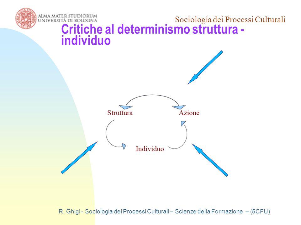 Sociologia dei Processi Culturali R. Ghigi - Sociologia dei Processi Culturali – Scienze della Formazione – (5CFU) Critiche al determinismo struttura