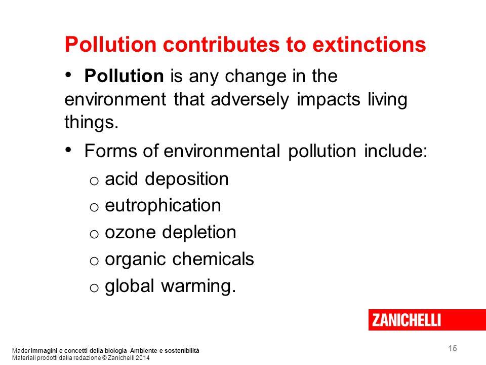 15 Mader Immagini e concetti della biologia Ambiente e sostenibilità Materiali prodotti dalla redazione © Zanichelli 2014 Pollution contributes to extinctions Pollution is any change in the environment that adversely impacts living things.