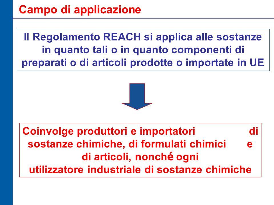Campo di applicazione Il Regolamento REACH si applica alle sostanze in quanto tali o in quanto componenti di preparati o di articoli prodotte o importate in UE Coinvolge produttori e importatori di sostanze chimiche, di formulati chimici e di articoli, nonch é ogni utilizzatore industriale di sostanze chimiche
