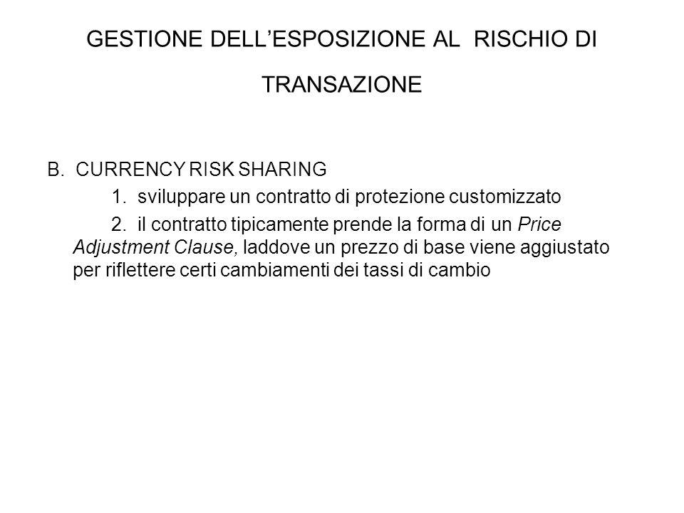 B. CURRENCY RISK SHARING 1. sviluppare un contratto di protezione customizzato 2. il contratto tipicamente prende la forma di un Price Adjustment Clau