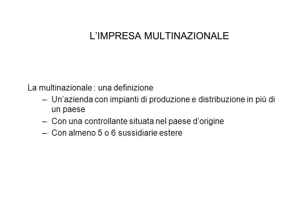 L'IMPRESA MULTINAZIONALE La multinazionale : una definizione –Un'azienda con impianti di produzione e distribuzione in più di un paese –Con una contro