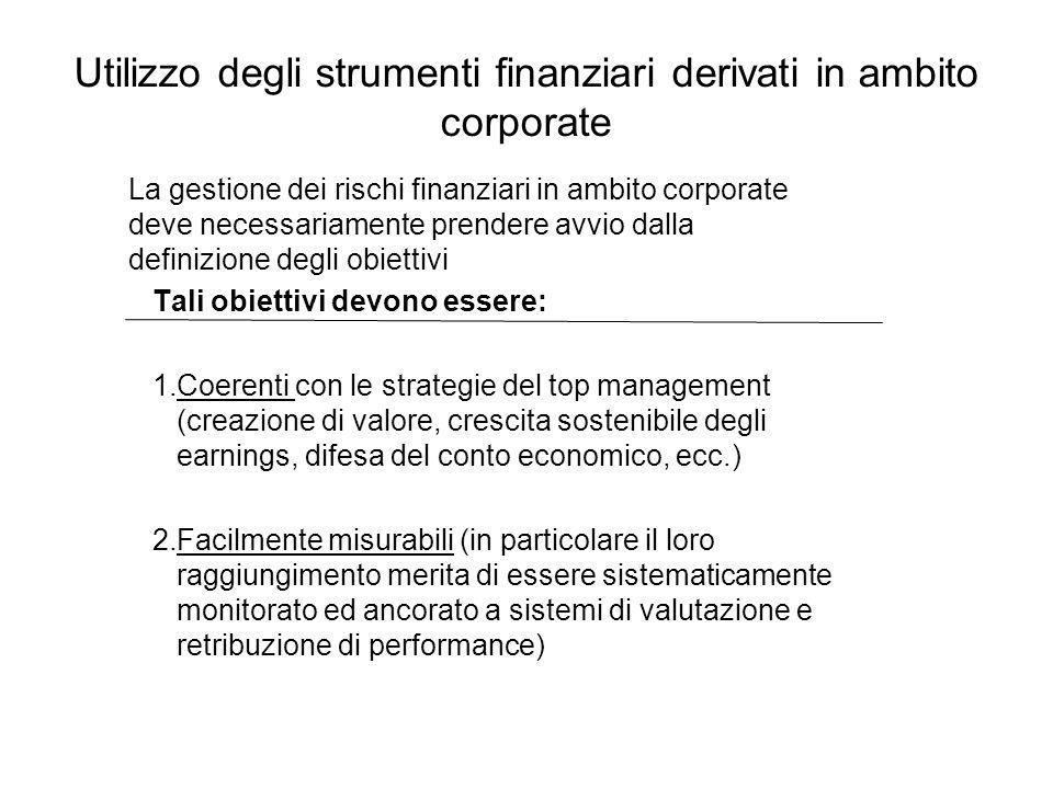 Utilizzo degli strumenti finanziari derivati in ambito corporate Tali obiettivi devono essere: 1.Coerenti con le strategie del top management (creazio