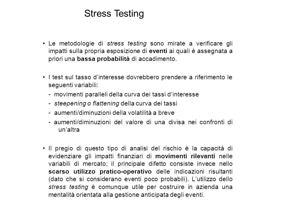 Le metodologie di stress testing sono mirate a verificare gli impatti sulla propria esposizione di eventi ai quali è assegnata a priori una bassa prob