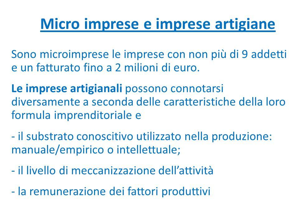 Micro imprese e imprese artigiane Sono microimprese le imprese con non più di 9 addetti e un fatturato fino a 2 milioni di euro. Le imprese artigianal