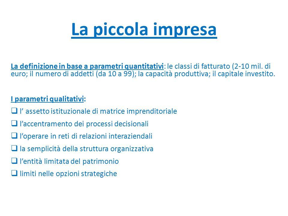La piccola impresa La definizione in base a parametri quantitativi: le classi di fatturato (2-10 mil. di euro; il numero di addetti (da 10 a 99); la c